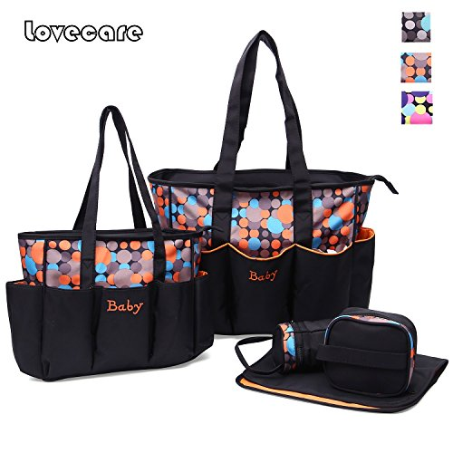 5pcs grande juego de bebé bolso de pañales para mamá madre mujer Tote bolsa maternidad cambiador para pañales bolsas organizador de accesorios para bebé gris naranja