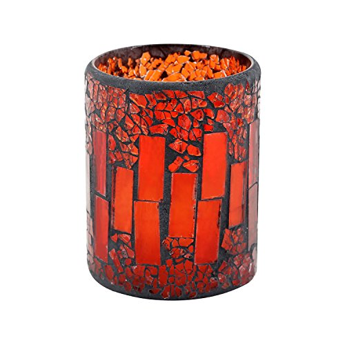 GiveU Red Mosaic Glass Flameless Pillar Led Wax Candle with Timer, 3X6