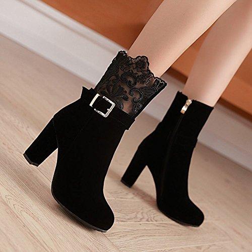 Mee Shoes Damen Reißverschluss mit Lace Nubukleder Stiefel Schwarz