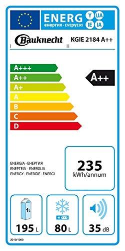 Bauknecht KGIE 2184 Kühl-Gefrier-Kombination / A++ / 177 cm Höhe / 235 kWh/Jahr / 195L Kühlteil / 80L Gefrierteil / Flüsterleise mit nur 35 dB / Nische 178 cm / weiß