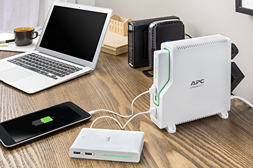 3-Outlet Home Network UPS 6 2+ hours of network backup and surge protection power keeps you connected to the internet during storms and outages Convenient mobile charging via three USB ports, including a smart charging port that recognizes connected devices to maximize charging speed Removable Lithium-Ion battery pack charges a smartphone five times before needing to recharge itself