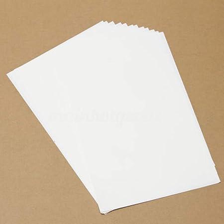 ZAK168 - 10 Hojas de Papel A4 de Transferencia de Calor para impresoras de inyección de Tinta, Hierro imprimible, Tela no de algodón, Color Claro, ...