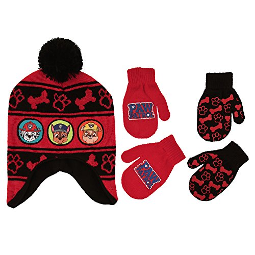 Nickelodeon Little Boys Paw Patrol Character Hat and 2 Pairs of Mittens or Gloves Cold Weather Set, Age 2-7 (Toddler Boys Age 2-4 Hat & 2 Pair Mittens Set, (Boys Hat Glove)