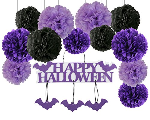 Halloween Decorations - Halloween Hanging Tag with Happy Halloween Sign and Bat Pendant Decoration Window Decoration Door Decor Purple Lavender Black Tissue Pom Pom Paper -