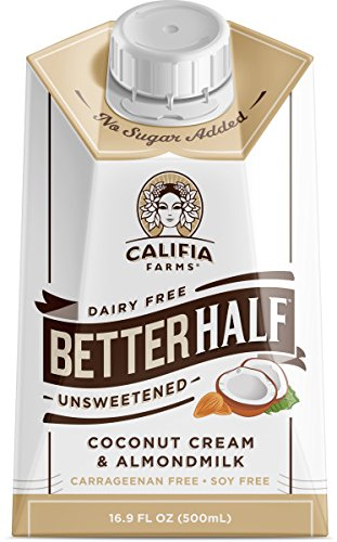 Califia Farms Unsweetened Better Half Coffee Creamer, 16.9 Oz, Coconut Cream and Almondmilk, Half & Half, Dairy Free, Whole30, Keto, Vegan, Plant Milk, Non-GMO