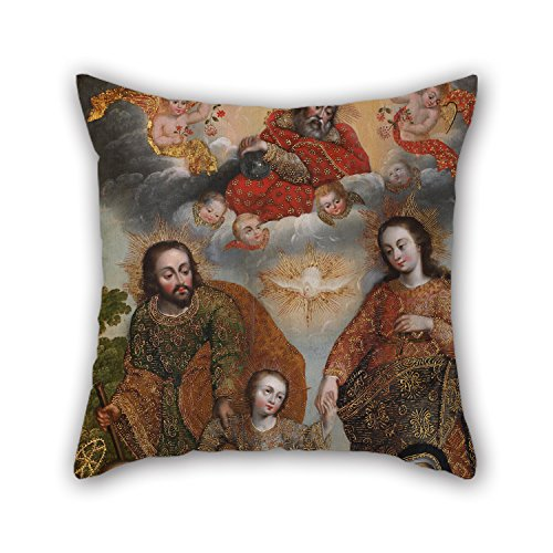 Loveloveu Oil Painting Anonymous Cusco School - Double Trinity With Saint Augustine And Saint Catherine Of Siena Pillow Shams 18 X 18 Inches / 45 By 45 Cm For Living Room,gf,play Room,bf,family,dan