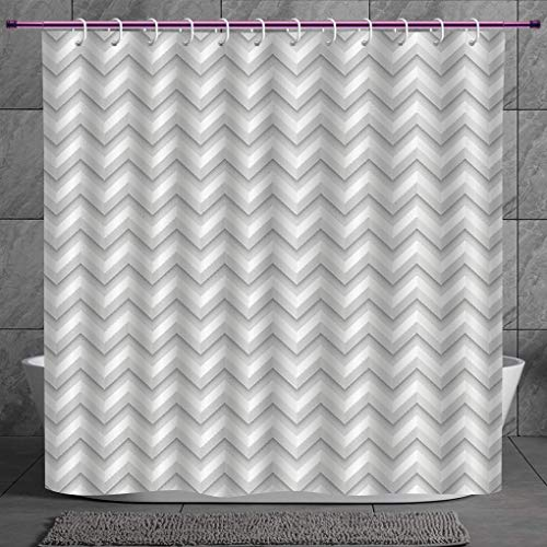 Zig Zag Kitty - SCOCICI Cool Shower Curtain 2.0 [ Geometric Decor,Simple Zig Zag Chevron Many Angle Pattern Minimalist Abstract Design,Light Grey White ] Digital Print Polyester Fabric Bathroom Set