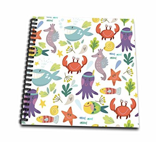 3dローズAnne Marie Baugh–パターン–カラフルな子供Sea Lifeのカニ、タコ、魚、鯨パターン–Drawing Book 12x12 memory book db_265025_2