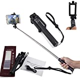SAMAR - Extendable Selfie Stick {SAMAR SPECIAL Latest 2017 Version} Monopod with Built in Wireless Bluetooth Camera Shutter and Adjustable Holder compatible for iPhone, Samsung and other Smartphones