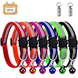 Grebarley Cat Collar,Cat Collars, Cat Collars with Bells,Reflective Adjustable Fluorescently, Quick Release Buckle, Suitable for Most Domestic Cats (Safety Buckle-6pcs)