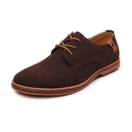 HONGkeke Mens Casual Lace-up Loafers Shoes Casual Oxfords Microfiber Faux Suede Leather Upper with