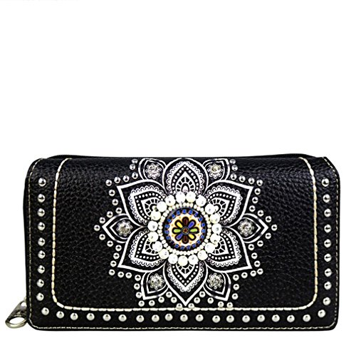 Concho Collection (MW523-W010 Montana West Concho Collection Secretary Style Wallet (Black / Beige) Brand Name: Montana)