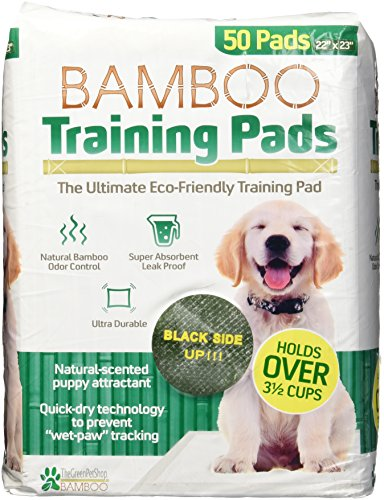 (The Green Pet Shop 22x23 Bamboo Rayon Training Pads- 1pk, 50 Pads- Super Absorbent with a Fresh Scent)