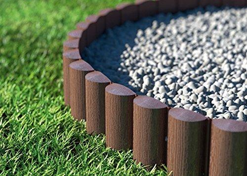 Rasenkante Palisade 2,3m braun, 8 Elemente 17 cm Höhe Beetbegrenzung Beetumrandung Beeteinfassung