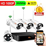 Security Cameras System Wireless -4CH 1080P HD DVR NO Hard Drive,4X HD 1080P Weatherproof Outdoor Surveillance Cameras with 100ft Night Vision,Alarm System,CORSEE