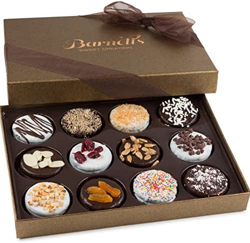 Barnett's Chocolate Cookies Gift Basket, Gourmet Christmas Holiday Corporate Food Gifts in Elegant Box, Thanksgiving, Halloween, Birthday or Get Well Baskets Idea for Men & Women, 12 Unique Flavors