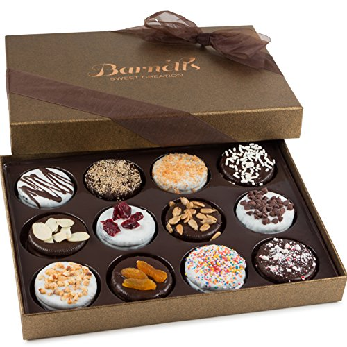 Barnett's Chocolate Cookies Gift Basket, Gourmet Christmas Holiday Corporate Food Gifts in Elegant Box, Thanksgiving, Halloween, Birthday or Get Well Baskets Idea for Men & Women, 12 Unique Flavors -