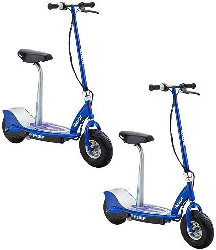 Razor E300s Patinete Eléctrico Motorizado De Alta Potencia De 24 V Para Adultos Y Adolescentes Con Frenos Neumáticos Neumáticos Y Asiento Desmontable Azul 2 Unidades Sports Outdoors