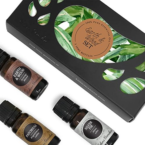 Edens Garden Top Essential Oil Kits 100% Pure Therapeutic Grade GC/MS Tested (Earth & Wood(E&W,Patchouli,Silver Fir), 10ml (Essential Oils Cologne)