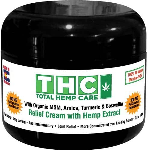 Pain Relief Cream with premium full-spectrum hemp extract + naturally occurring CBC, CBG, Terpenes skillfully blended with organic MSM, Arnica, Turmeric & Boswellia (300mg Premium Pain Relief Cream)