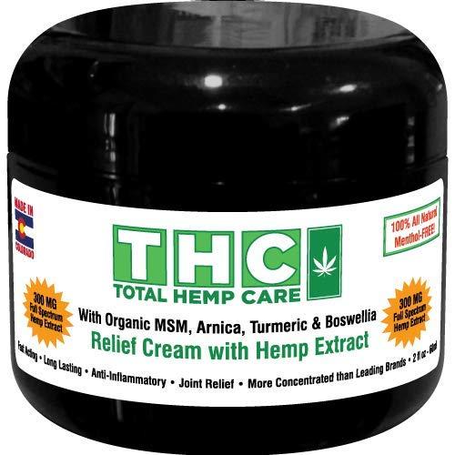 - Pain Relief Cream W/Full-Spectrum Rich Hemp Extract- (300mg+ 45mg CBC,CBG) + Organic MSM, Arnica, Turmeric & Boswellia (300mg)