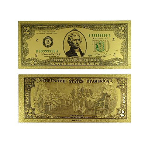 Two Gold Plated (Gold Two Dollar Bill Colored with Semi-Rigid Protector by Lane Co)