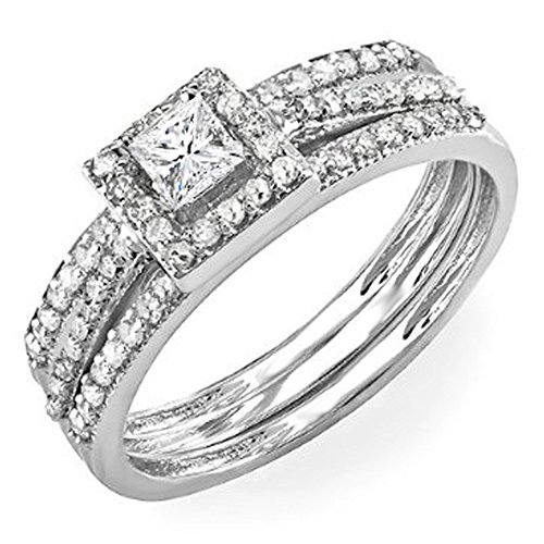 (Dazzlingrock Collection 0.62 Carat (ctw) 14k Round & Princess Diamond Ladies Bridal Halo Ring Engagement Matching Band Set, White Gold, Size)