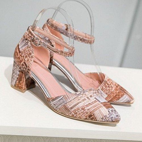TAOFFEN Mujer Sandalias Moda Tacon Ancho Tacon Medio Al Tobillo Zapatos Albaricoque