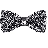 Men's Black Silver Mixed Design Handmade Bow Ties Suit Accessories Holiday Party