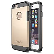iPhone 6 Case, Trianium [Duranium Series] Heavy Duty Shock Absorbing Ultra Protective Hard Case with Built-in Screen Protector for iPhone 6 (4.7-Inch) [Black/Gold] [Lifetime Warranty](TMWS6CASE01)
