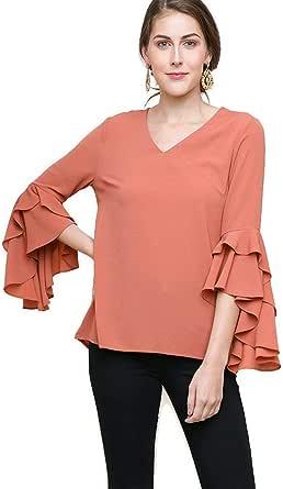 Umgee Women's Layered Ruffle High Low Sleeve Blouse Tunic Top