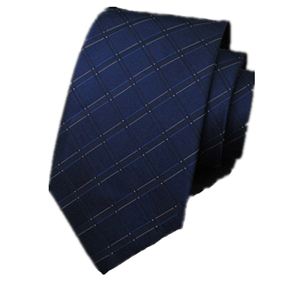 Dig Dog Bone Tie Male Formal Wear Business Tie Groom Wedding Marriage Tie Silk Fabrics Dark Blue Square Pattern Tie