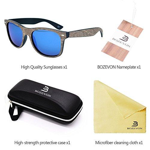 del de la Chapa Bambú Nogal marco sol Manera Retro UV400 de Gafas de Negro BOZEVON azul del Unisex 5BwYwP