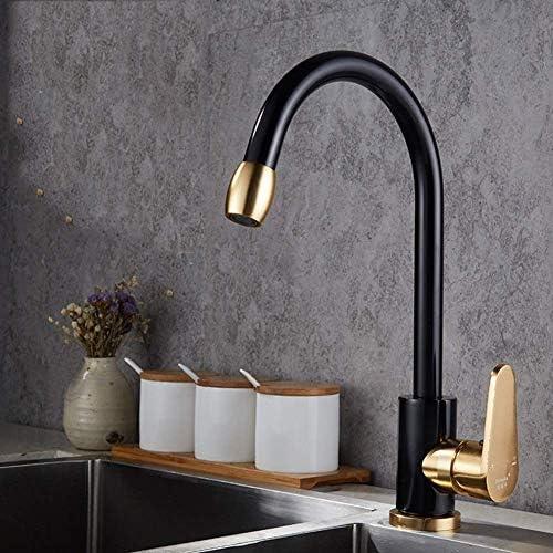 Yadianna キッチン蛇口洗面器のミキサータップ、ブラックディッシュホットとコールド蛇口ホームキッチン混合水ドラゴン水上多機能スペースアルミ製の蛇口