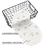 Bamboo Baby Burp Cloths | 8 Layers | Pack of 4 | Hypoallergenic and Antibacterial | Large 9'' x 21'' | Durable Reusable Machine Wash