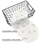 Bamboo Baby Burp Cloths | 8 Layers | Pack of 4 | Hypoallergenic and Antibacterial | Large 9  x 21  | Durable Reusable Machine Wash