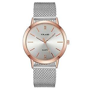 Womens Rhinestone Wristwatch, Balakie Fashion Stainless Steel Mesh Band Analog Quartz Watch-A156 Lover Memorial Gifts(Silver)