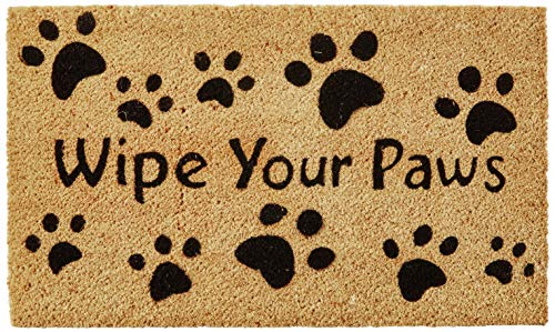 Kempf Wipe Your Paws Coco Doormat, Rubber Backed, 18 by 30 by 0.5-Inch (Best Doormat For Dogs)