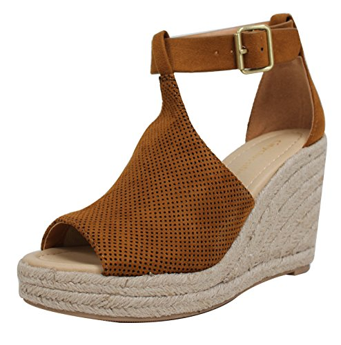 City Classified Women's Peep Toe Perforated Ankle Strap Espadrilles Wedge, British Tan, 65 M US (Classified Womens Shoes Wedge)