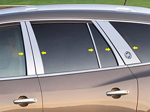 Buick 4 Door - QAA FITS Enclave 2013-2017 Buick (10 Pc: Stainless Steel Pillar Post Trim Kit w/Cut Out for Buick Logo, 4-Door, SUV) PP53533