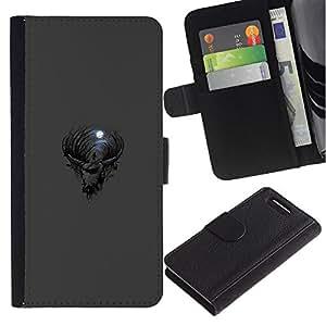 """A-type (Gótica Cabra Luna"""") Colorida Impresión Funda Cuero Monedero Caja Bolsa Cubierta Caja Piel Card Slots Para Sony Xperia Z1 Compact / Z1 Mini (Not Z1) D5503"""