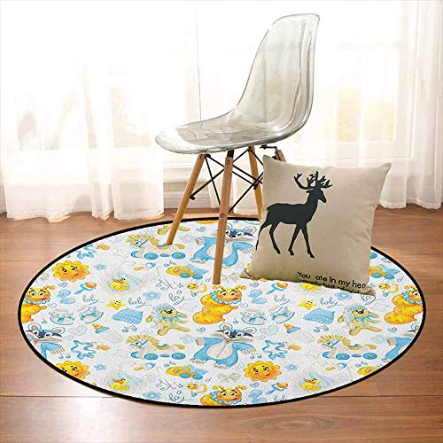 Nursery Multifunctional Round Carpet Its a Boy Image with Happy Sun Raccoon in Pyjamas Blue Hats and Pacifier for Bedroom Modern Home Decor D35.4 Inch Earth Yellow Aqua (Hoover Patio)