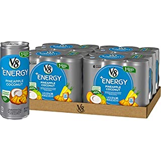 V8 +Energy, Healthy Energy Drink, Natural Energy from Tea, Pineapple Coconut, 8 Ounce Can (4 Packs of 6, Total of 24)