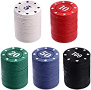 NUOBESTY 100PCS Poker Chip Set Plastic Counting Counters Poker Chips for Kids Game Play Learning Math Counting