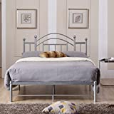 Premium Platform Bed - Elegant Vintage-Inspired Design Furniture Rest Sleep Bedroom Home Decor Free eBook (Queen, Silver)