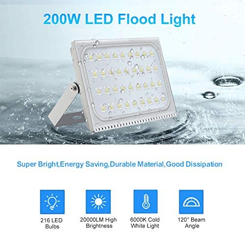 TOHUU 200W LED Flood Light Outdoor,20000LM Super Bright Work Light,IP65 Waterproof Outdoor Landscape Floodlight,6000K Daylight White Outdoor Led Lights for Garden Yard, Party, Playground