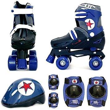 Juego de patines de cuatro ruedas con rodilleras, coderas y casco ...