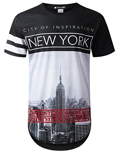 URBANTOPS Mens Hipster Hip Hop City Graphic Longline T-Shirt (Various Styles) 1