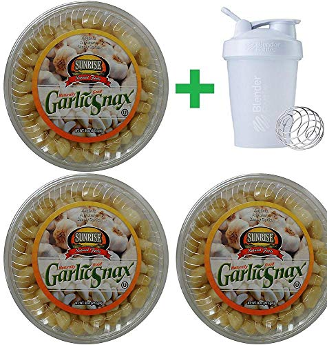 Sunrise Natural Foods Garlic Snax, 8 oz (3 PCS) + Sundesa, Blender Bottle 20 oz by SunRise