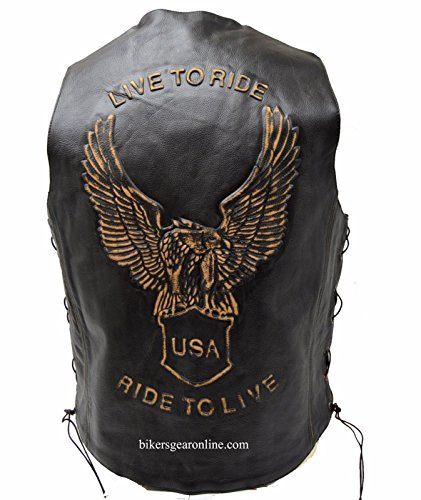 MEN'S MOTORCYCLE BIKERS RETRO BROWN LEATHER VEST W/SIDE LACE EAGLE EMBOSSED BACK (44 Regular) (Retro Brown Vest Side Laces)
